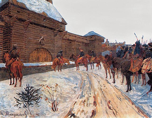 Moğolları Vladimir surları önünde (Vasily Maksimov -Wikipedia)