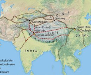 """Görsel kaynağı: """"Earliest Tea as Evidence for One Branch of the Silk Road Across the Tibetan Plateau,"""" by Houyuan Lu et Al., in Scientific Reports, Vol. 6, January  2016; Harita kaynağı – Mapping Specialists"""