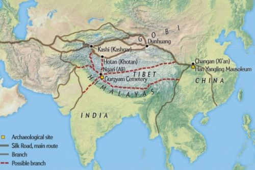 "Görsel kaynağı: ""Earliest Tea as Evidence for One Branch of the Silk Road Across the Tibetan Plateau,"" by Houyuan Lu et Al., in Scientific Reports, Vol. 6, January  2016; Harita kaynağı – Mapping Specialists"